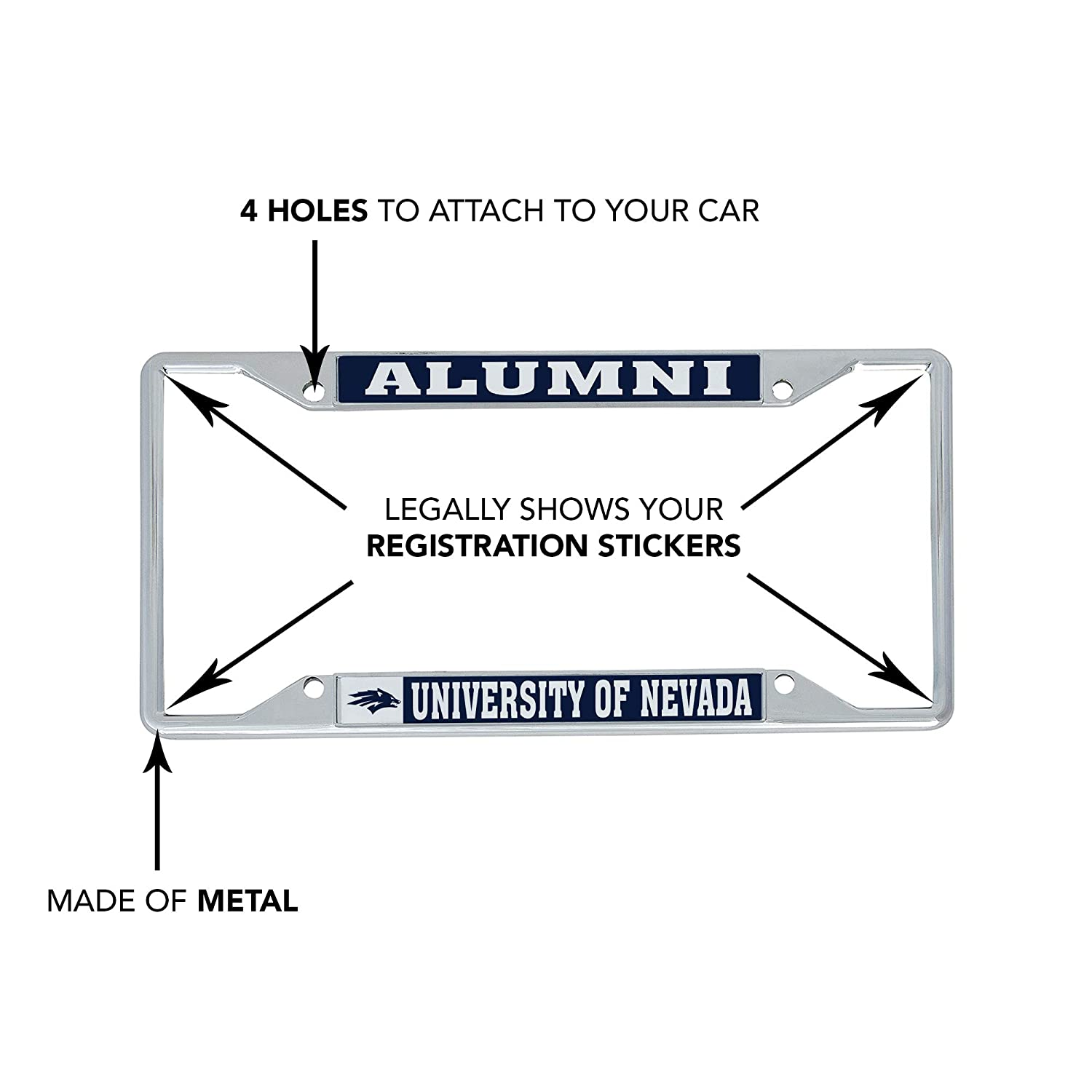 Alumni Desert Cactus University of Nevada Reno UNR Wolf Pack NCAA Metal License Plate Frame for Front Back of Car Officially Licensed