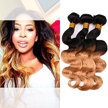 Dai Weier Tissage Ombre Hair Extension Blond Vrai Cheveux Humain Ondulé en  Lot 3 Court Naturel