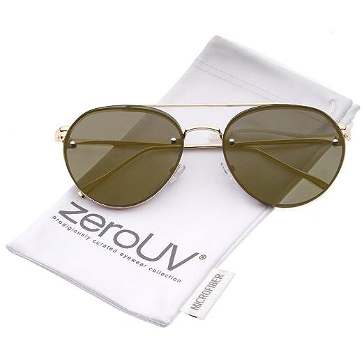 1cf92492e8fcb Modern Slim Temple Brow Bar Rimless Colored Mirror Flat Lens Aviator  Sunglasses 59mm (Gold