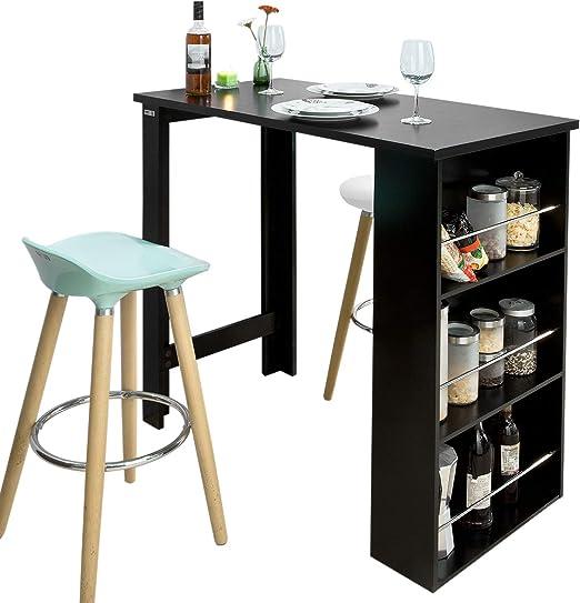 SoBuy FWT17-SCH Mesa de Bar, Mesa de Ordenador,Color Negro,ES ...