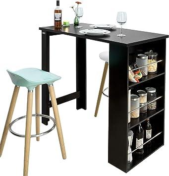 Sobuy Fwt17 Sch Table De Bar Table Haute De Cuisine Avec Rangement Mange Debout Comptoir Noir Amazon Fr High Tech