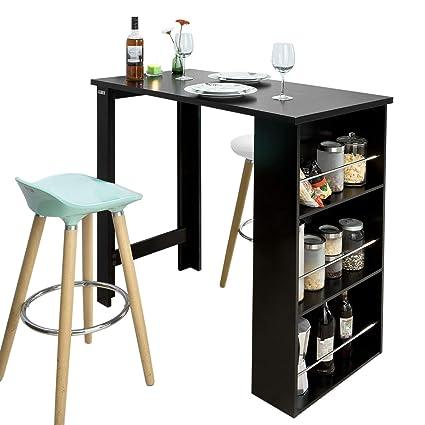 Haute Table De Cuisine.Sobuy Fwt17 Sch Table De Bar Mange Debout Table Haute De Cuisine Avec 3 Etageres De Rangement Noir