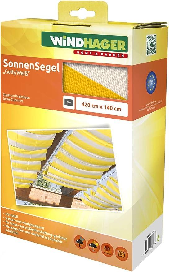 Windhager Toldo Vela de protección Solar tecnología de tensado de Cables 420 x 140 cm, Ideal para pérgola o Invernadero, Amarillo/Blanco, 10873: Amazon.es: Jardín