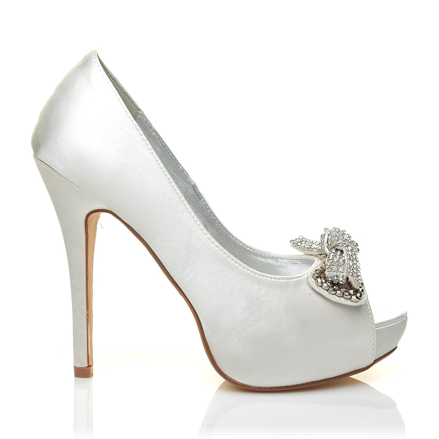 e743399b674 Jewel Ivory Off-White Satin Diamante Bow Designe High Heel Peep Toe  Platform Shoes  Amazon.co.uk  Shoes   Bags