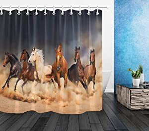 LB Western Christmas Horse Shower Curtain for Kids,Masculine Stallion Horses Run in Farm Filed Animal Decor Shower Curtain Set with Hooks,Waterproof Fabric 72x72 Inch