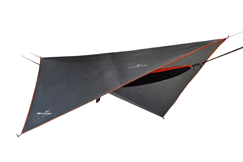 HAMMOCK CAMP – 簡単セットアップポータブルハンモックフライタープシェルター – 高品質軽量防水テントポリエステル – バックパッキングアウトドアキャンプやハイキングに最適なカバー  オレンジ B075SMVPHK