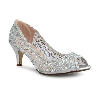 1454be3949e New Womens Ladies Peep Toe Mesh Diamante Mid heel Wedding Bridal Party Court  Shoes