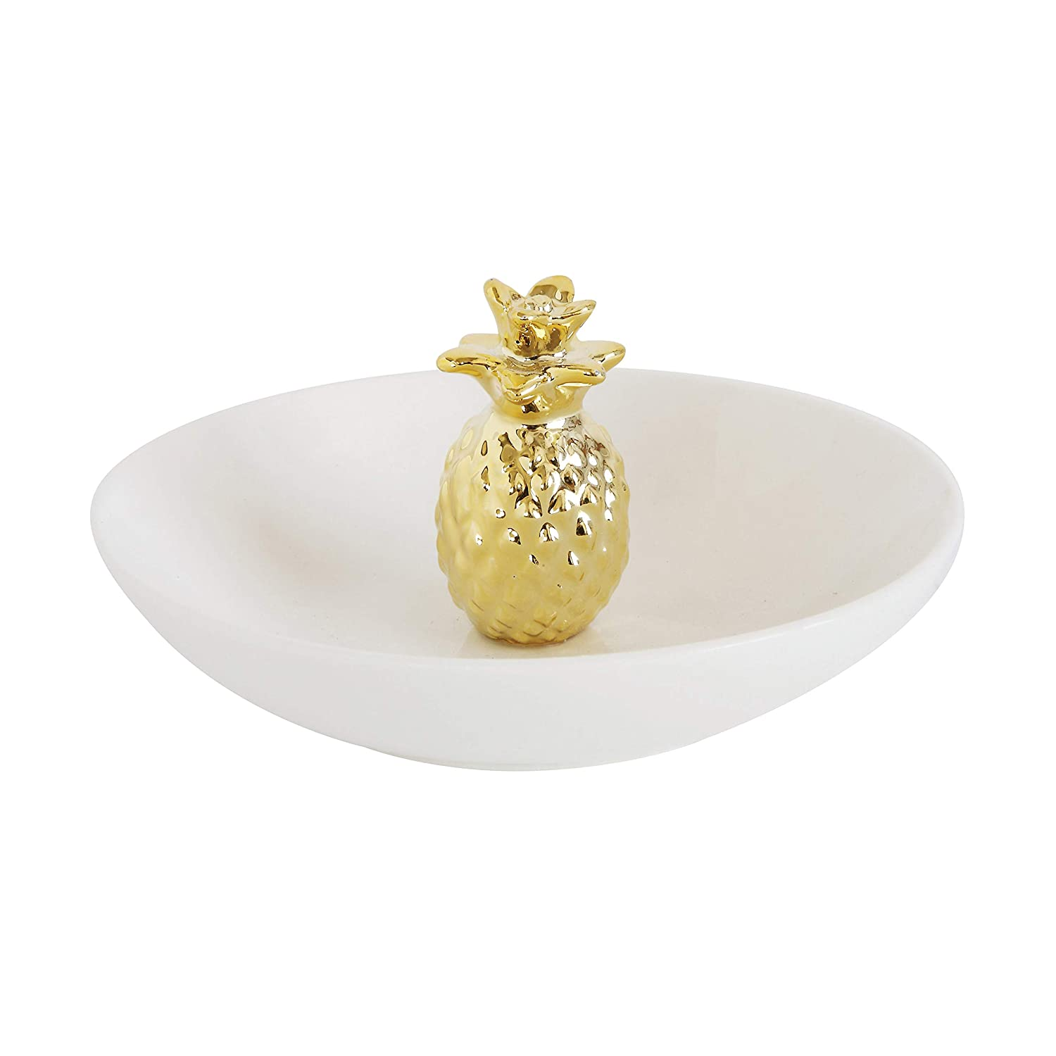 Amazon Creative Co op DA7301 1 White Bowl with Gold Pineapple