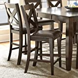 Steve Silver Crosspointe Counter Height Dining Chair - Set of 2 - Dark Espresso Cherry