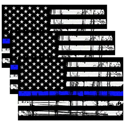 CREATRILL Reflective Tattered Thin Blue Line Decal Matte Black – 3 Packs 3x5 in. American USA Flag Decal Stickers for Cars, Trucks, Hard Hat, Support Police and Law Enforcement Officers: Automotive