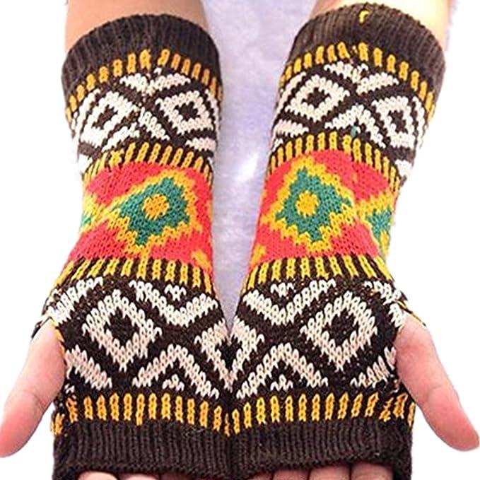 LI&HI Damen Schnee Finger HANDSCHUHE STULPEN mit Armstulpen Stricken ...