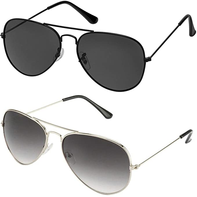9673f66f2f SHEOMY GOGALS FOR BOYS and Girls - COMBO OF STYLISH SILVER GREY AVIATOR AND  FULL BLACK AVIATOR SUNGLASSES WITH 2 BOXES  Amazon.in  Clothing    Accessories