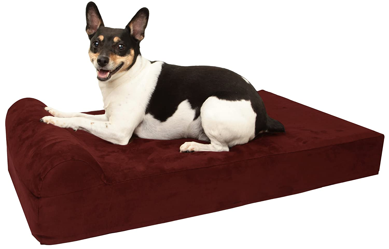 Burgundy Small (27 x 18) Burgundy Small (27 x 18) Barker Junior 4  Pillow Top Orthopedic Dog Bed with Headrest for Small Dogs 20-30 Pounds