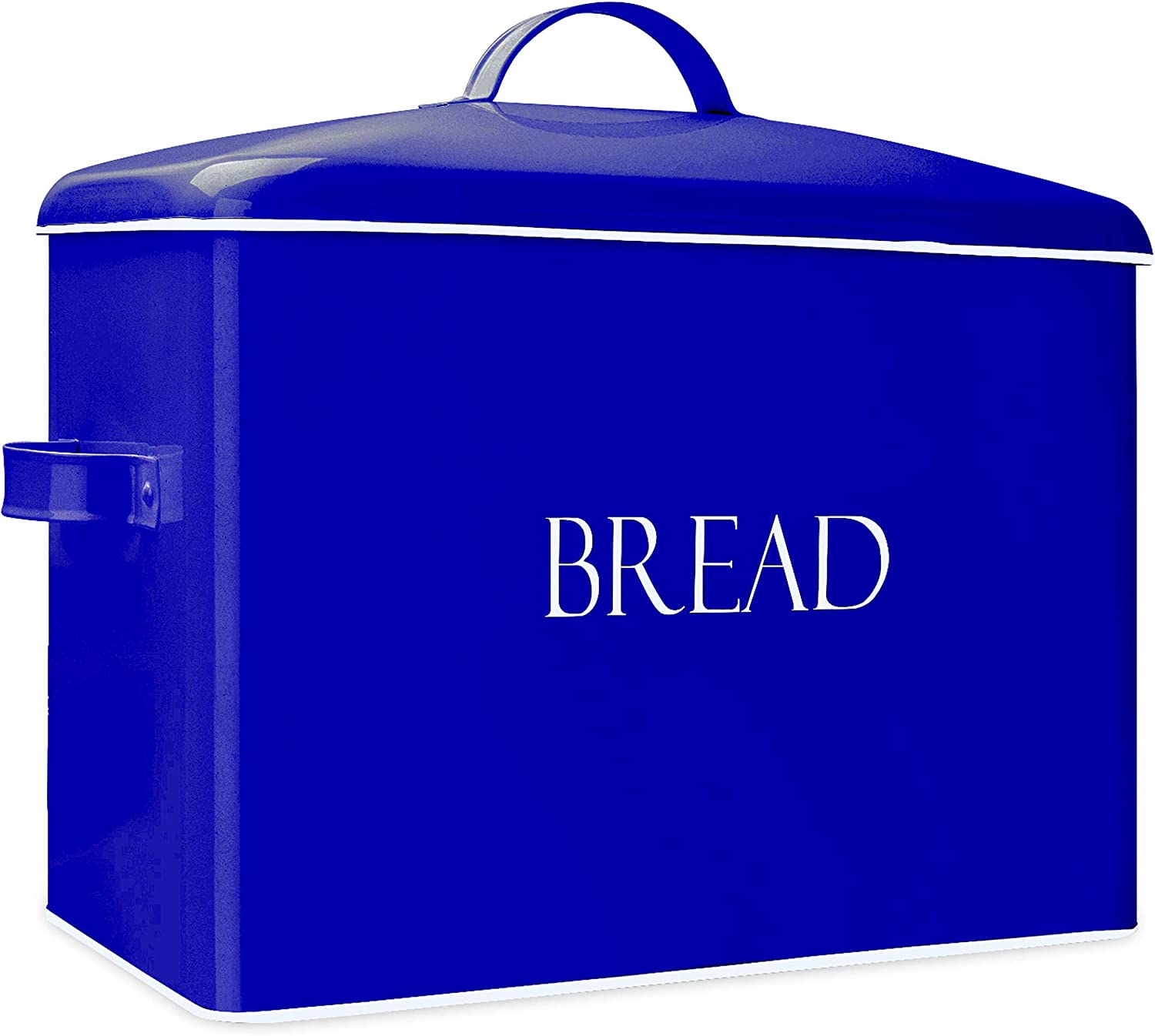 """Blue Vintage Metal Bread Bin - Countertop Space-Saving, Extra Large, High Capacity Bread Storage Box for your Kitchen - Holds 2+ Loaves 13"""" x 10"""" x 7""""- White with BREAD Lettering"""