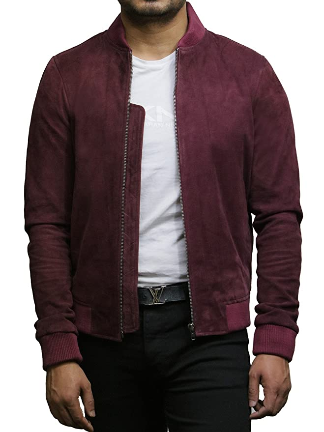 Brandslock Mens Genuine Leather Jacket Vintage Retro Goat Suede Varsity at Amazon Mens Clothing store: