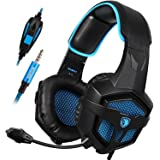 Cuffie da gioco Sades 807 per PS4 New Xbox One Gaming Cuffie Sopra l' orecchio 3.5 mm Spina Cablata con Controllo Volume e Microfono per PC Laptop Mac Telefono (nero & blu)