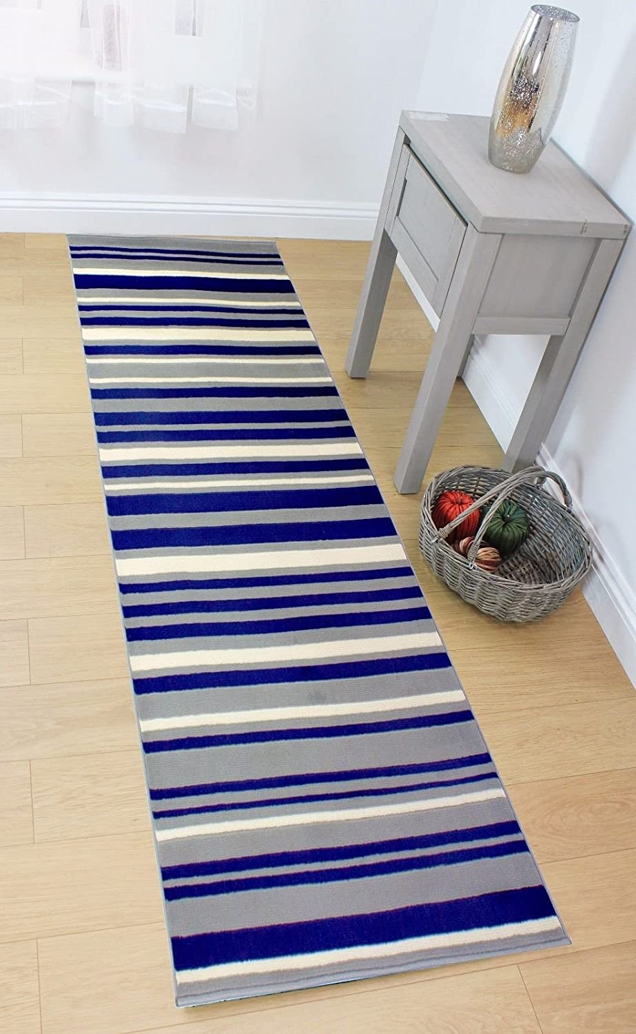 60x220cm Lord of Rugs LONG MODERN TRADITIONAL STRIPED HALLWAY HALL RUNNER RUG IN BLUE GREY IN VARIOUS SIZES 2x73