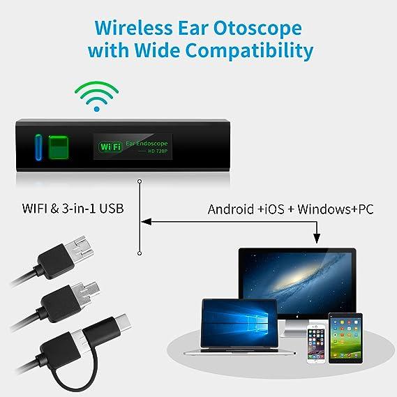 Ear Clean Endoscopio Inal/ámbrico De Inspecci/ón De Otoscopio Impermeable Portable HD Borescope con para Android Smartphones Windows 2 En 1 USB Otoscope