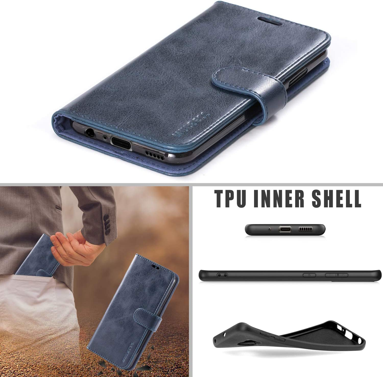 Brown Flip Leather Wallet Phone Cover for Huawe P Smart+ 2019 // Honor 20 Lite // Honor20 Lite Mulbess Vintage Huawe P Smart Plus 2019 Case Huawe P Smart Plus 2019 Phone Case
