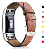 Fitbit Charge 2 Band Leather Strap, Mornex Classic Adjustable Replacement Wristband for Fitbit Charge 2 Fitness Accessories With Metal Connectors