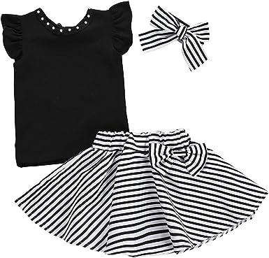 Conjunto de ropa para bebé niña con camisa, falda de rayas y diadema (3 piezas), para falda de verano de 1 a 6 años, de Borlai: Amazon.es: Ropa y accesorios
