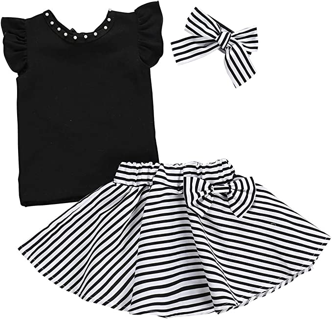 Conjunto de ropa para bebé niña con camisa, falda de rayas y ...