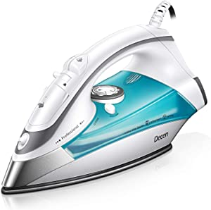 Decen Steam Iron for Clothes,1700W Powerful Steam Anti-Drip, Precise Temp Control, Variable Steam Contro Self-Cleaning Function Travel Iron for Home