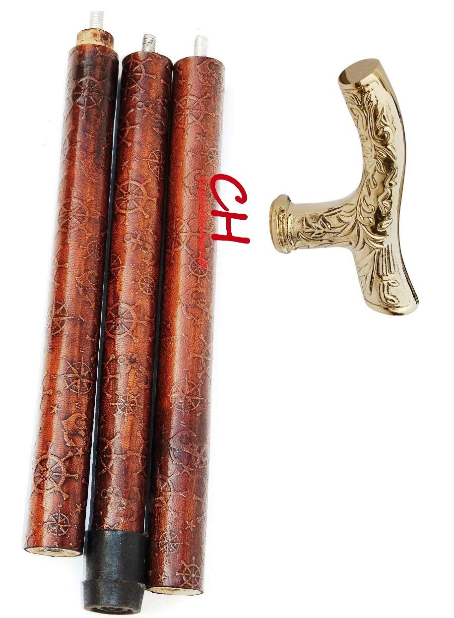 Calvin Brass Nautical Handle Red Leather Embossed Walking Stick   Handmade Collection   Antique Cane 