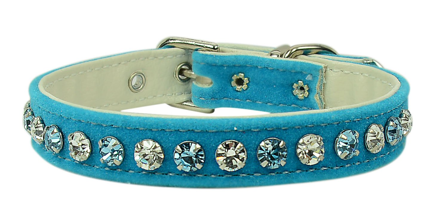 Evans Collars 1 2  Collar with Alternating Jewel colors, Size 12, Velvet, Turquoise