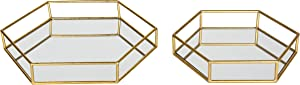 Kate and Laurel Felicia Metal Mirrored Ornate Set of 2 Decorative Trays, Gold Leaf Finish,