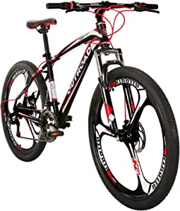 Max4out Mountain Bike 21 Speed 26 inch Shining SYS Double Disc Brake Suspension Fork Rear Suspension Anti-Slip Bikes, Red/Silver