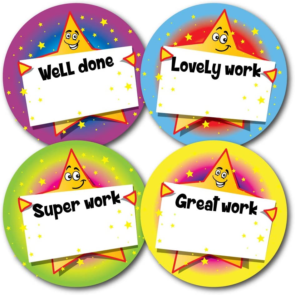 144 in pack With space to write name 30mm Teachers Praise Reward Stickers