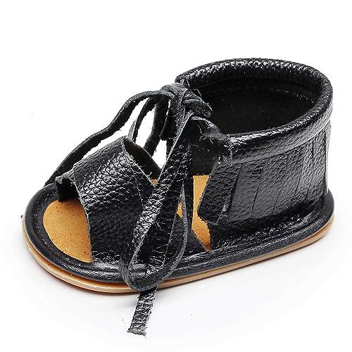 628ba0bde15f HONGTEYA Boys Girls Genuine Leather Hard Soled Shoes Summer Fringe Baby  Sandals (6-12