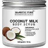 Coconut Milk Body Scrub from Majestic Pure – Anti Cellulite Scrub & Exfoliator, 12 Oz - Natural Skin Care Formula Helps with Stretch Marks, Eczema, Acne and Varicose Veins