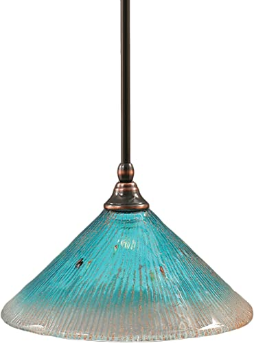 Toltec Lighting 23-BC-448 Stem Mini-Pendant Light Black Copper Finish with Teal Crystal Glass, 10-Inch