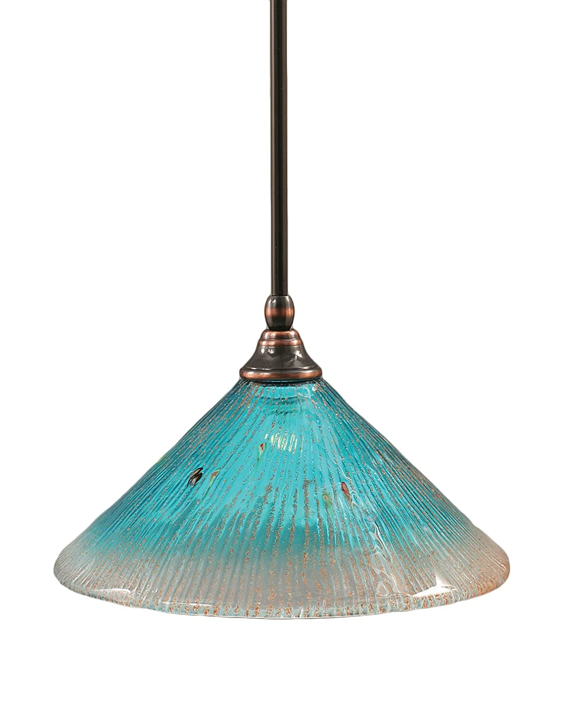 Toltec Lighting 23-BC-435 Stem Mini-Pendant Light Black Copper Finish with Blue Italian Glass 10-Inch