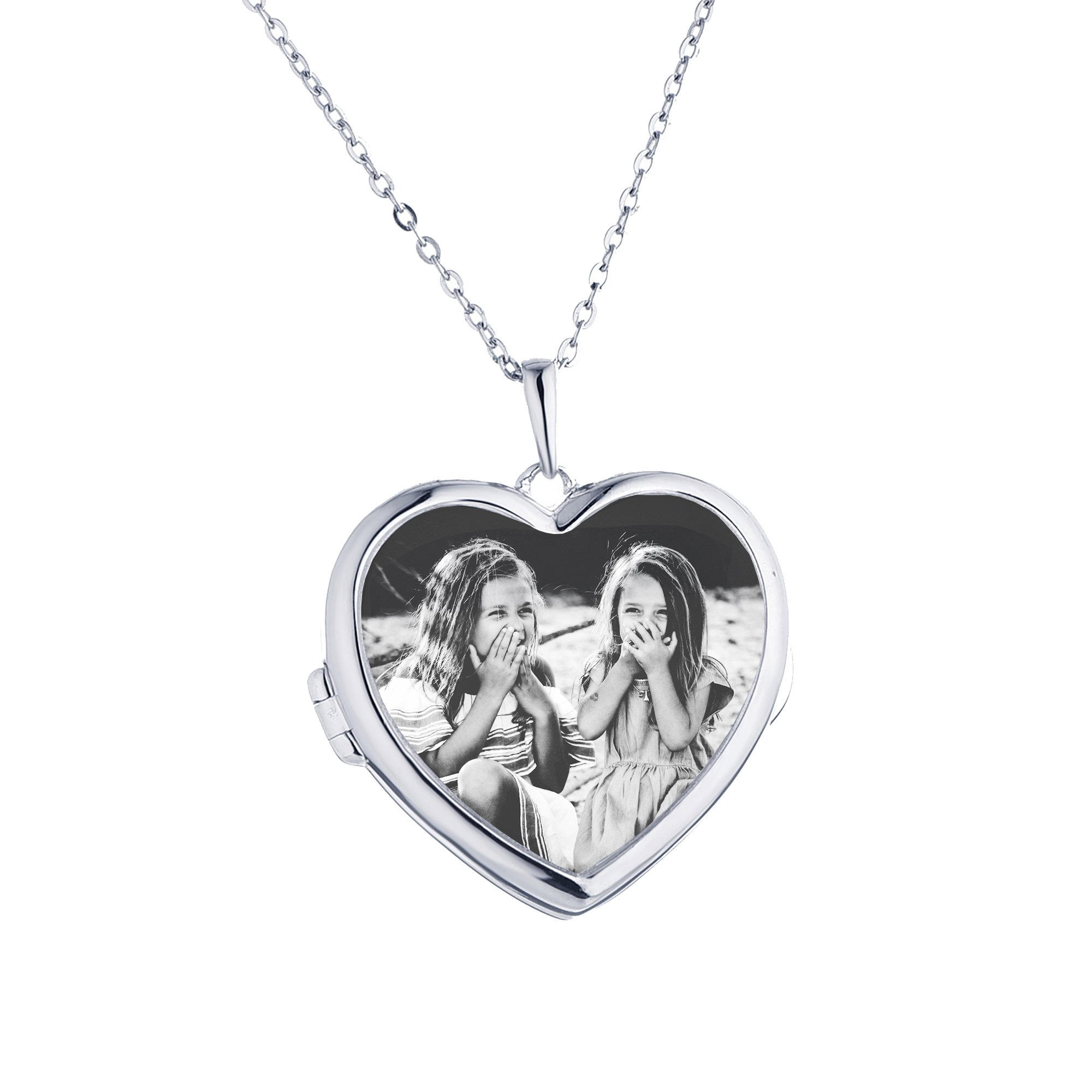 Sterling Silver-Glass-Heart-Custom Photo Locket Necklace-34-inch chain-The Nina by With You Lockets