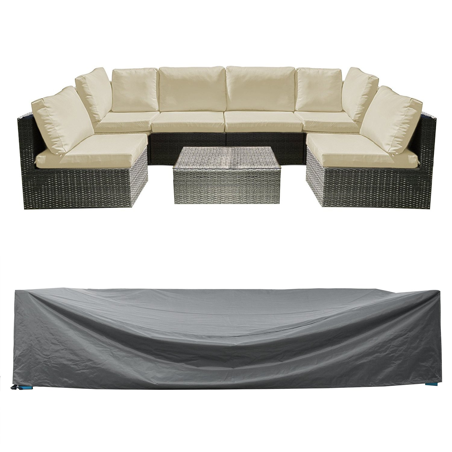 Patio Sectional Sofa Set Cover Outdoor Furniture Covers Water Resistant Outdoor Table and Chair Covers Durable Heavy Duty 126'' L x 64'' W x 29'' H