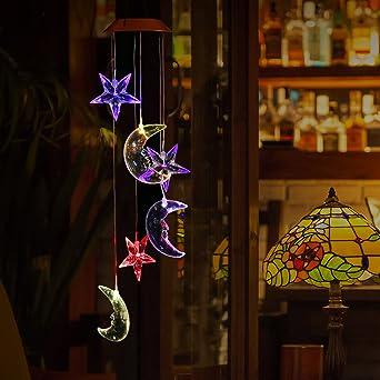 Pathonor Glockenspiel Color Changing LED Solar Mobile Wind Glockenspiel, LED  Wandleuchte Farbe Sechs Sterne