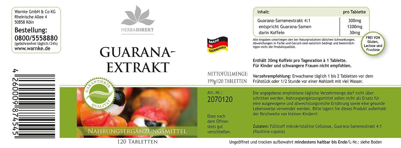 Guaraná 1200mg - Sustancia pura- 120 Pastillas - Herbadirekt: Amazon.es: Salud y cuidado personal