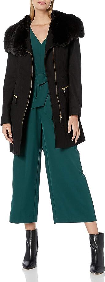 Via Spiga Womens Asymmetric Wool Coat with Oversized Faux Fur Collar