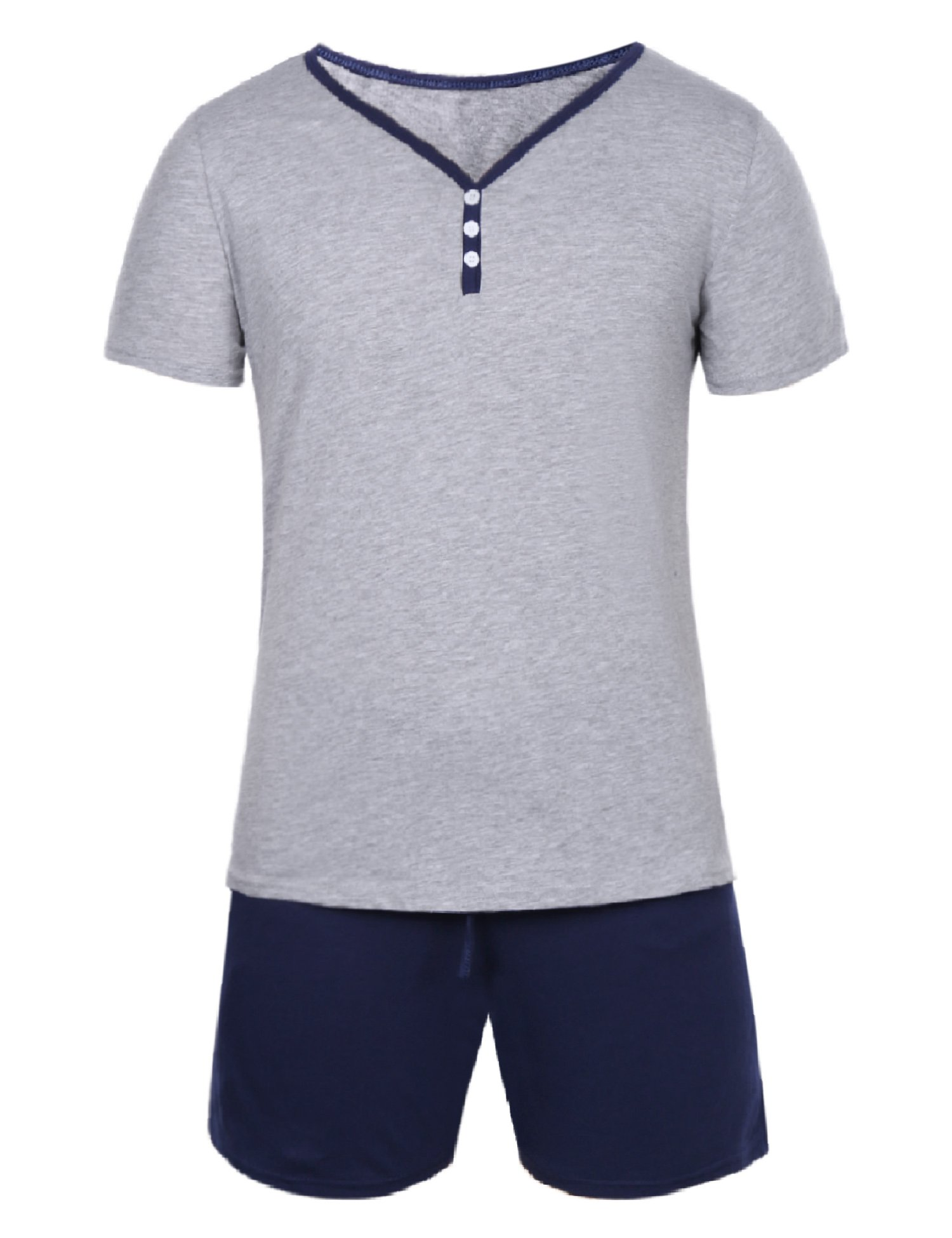 Hawiton Pijama Hombre Verano Corto de Algodón con Pantalón, Simple y Generoso product image