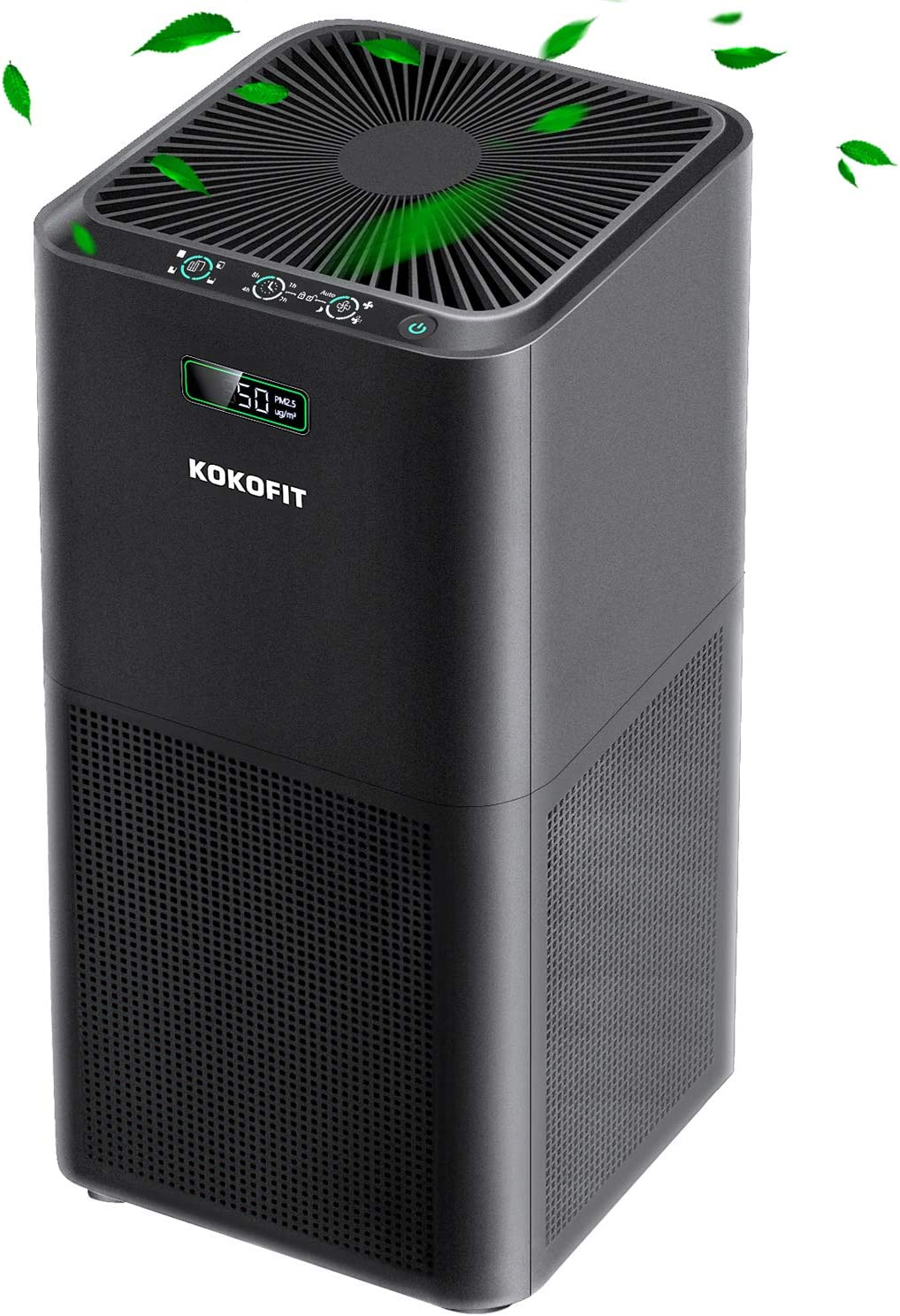 Kokofit Air Purifiers for Home Large Room with True HEPA Filter CADR 320, Quite Air Cleaner Eliminates 99.97% Allergies and Pets Hair Dust Odor Smoke Mold Pollen with Air Quality Monitor Sleep Mode