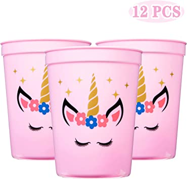 Amazon.com: Joy Day - Vasos de unicornio para fiesta, para ...