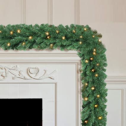 Holiday 9ft Colorado Pine Artificial Christmas Garland 50LED Lights Xmas Decor