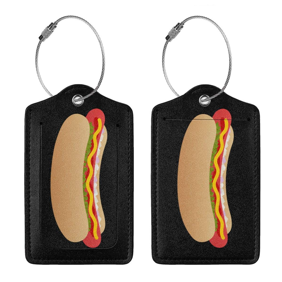 Hot Dog Travel Luggage Tags With Full Privacy Cover Leather Case And Stainless Steel Loop