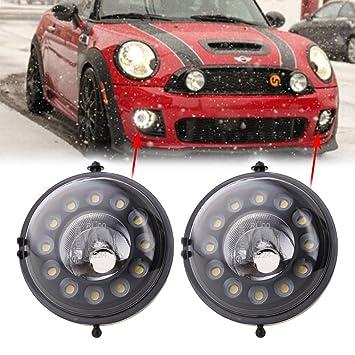 mingli negro LED luz diurna DRL luces antiniebla para Mini Cooper R55 R56 R57 R58 R60 día Niebla conducción lámpara kit de montaje: Amazon.es: Coche y moto