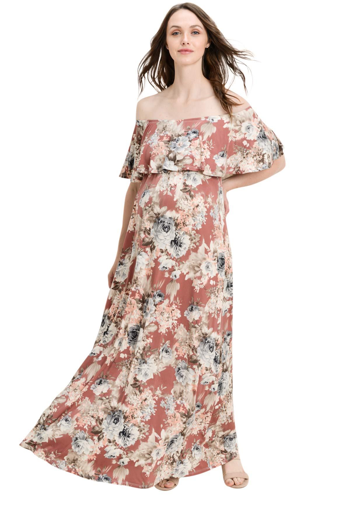 Hello MIZ Women's Ruffle Off The Shoulder Maxi Maternity Dress - Made in USA (Rust Flower, XL)