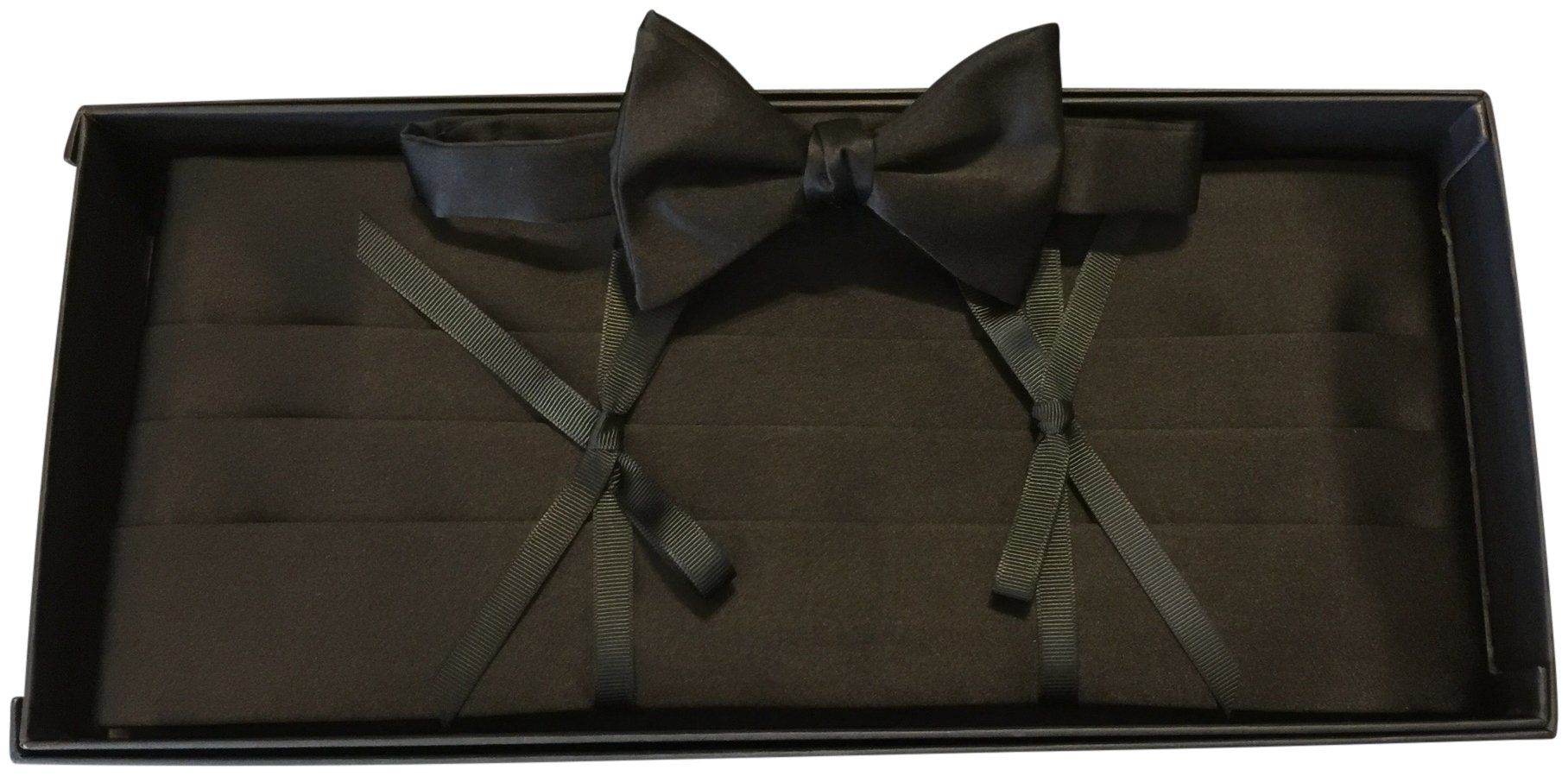 David Donahue 100% Silk Formal Bow Tie & Cummerbund Gift Set Black