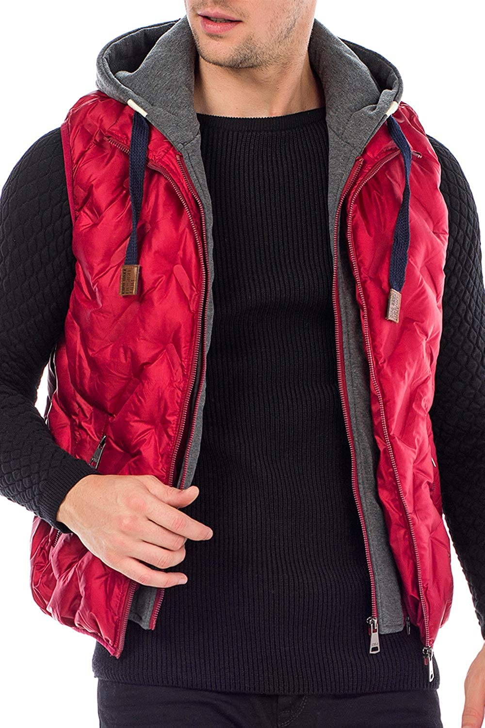 Cipo /& Baxx Mens Quilted Outdoor Vest Stand-Up Collar Sleeveless Vest with Sweat Hood